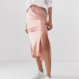 mauve satin skirt